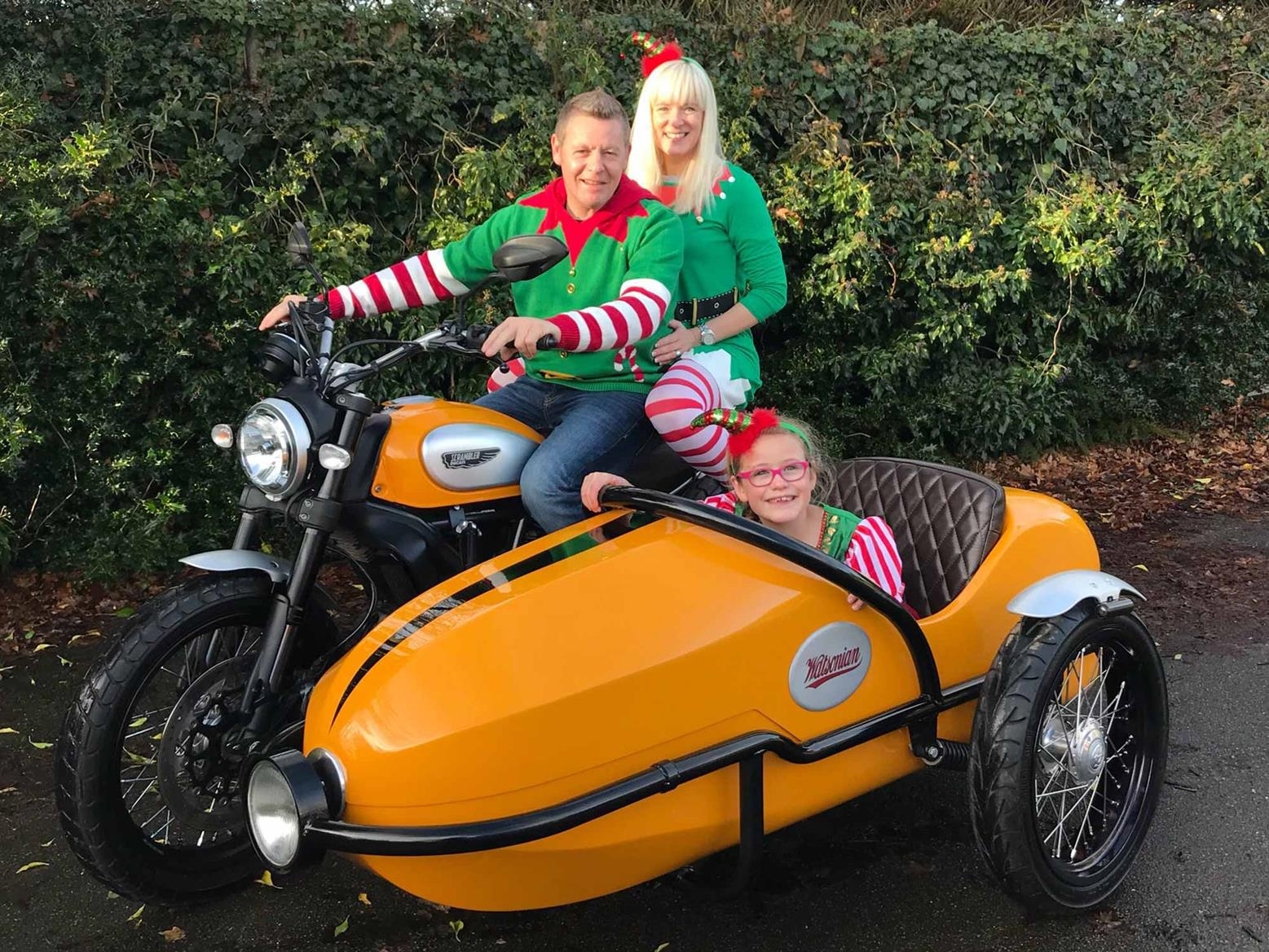 Chris Walker and family aboard their Ducati Scrambler and sidecar