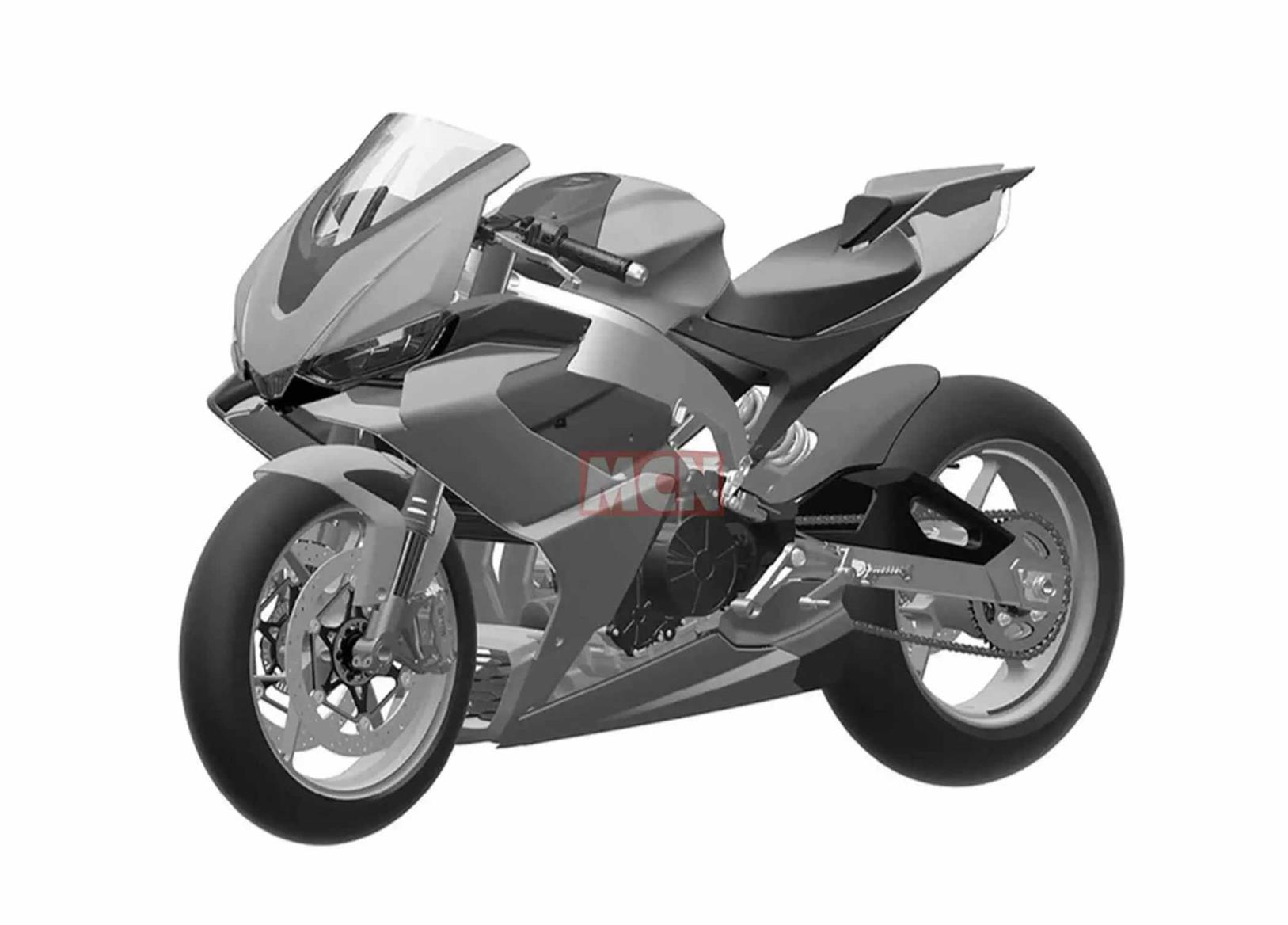 A frontal view of the Aprilia RS660 design patent