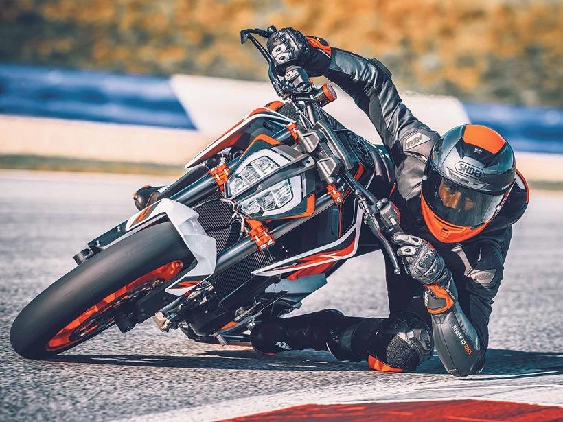 The KTM 890 Duke R is capable of serious lean angles