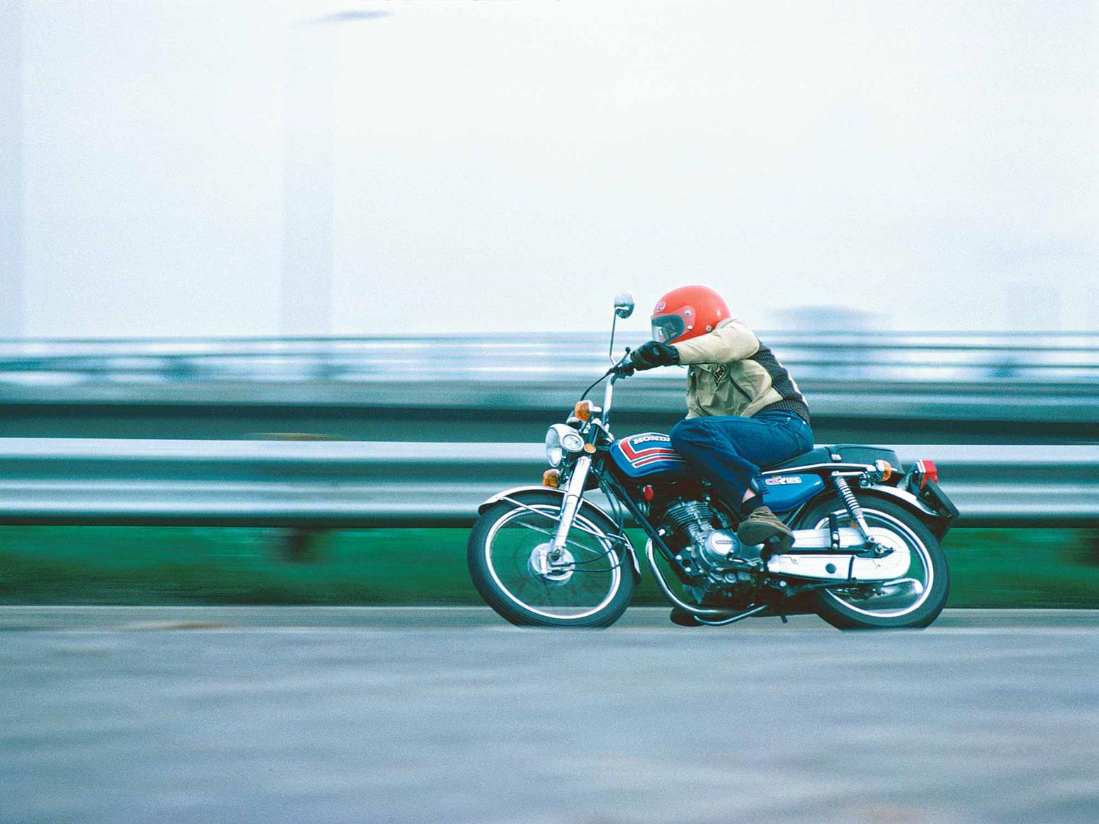 Cornering on an early Honda CG125