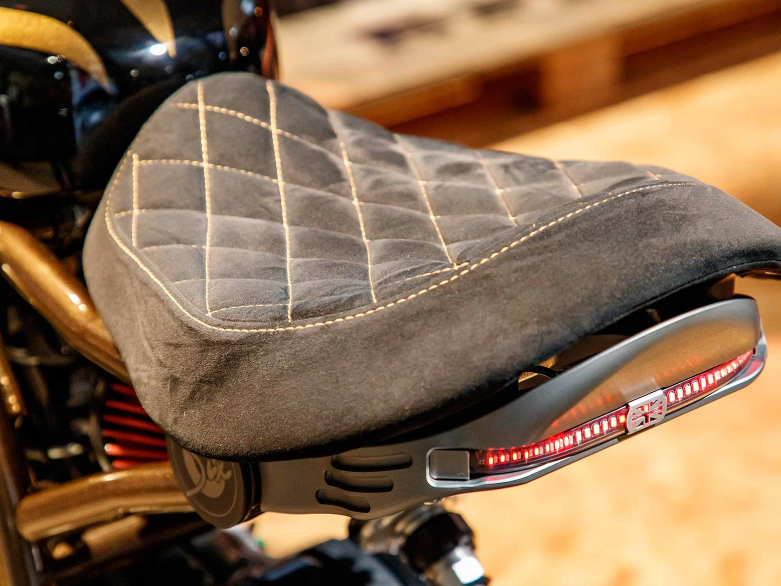 Each seat is finished in alcantara with yellow stitching