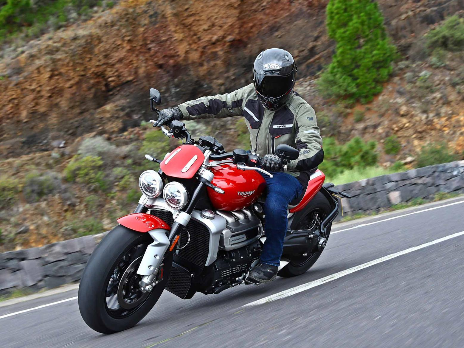 A front-end view of the Triumph Rocket 3