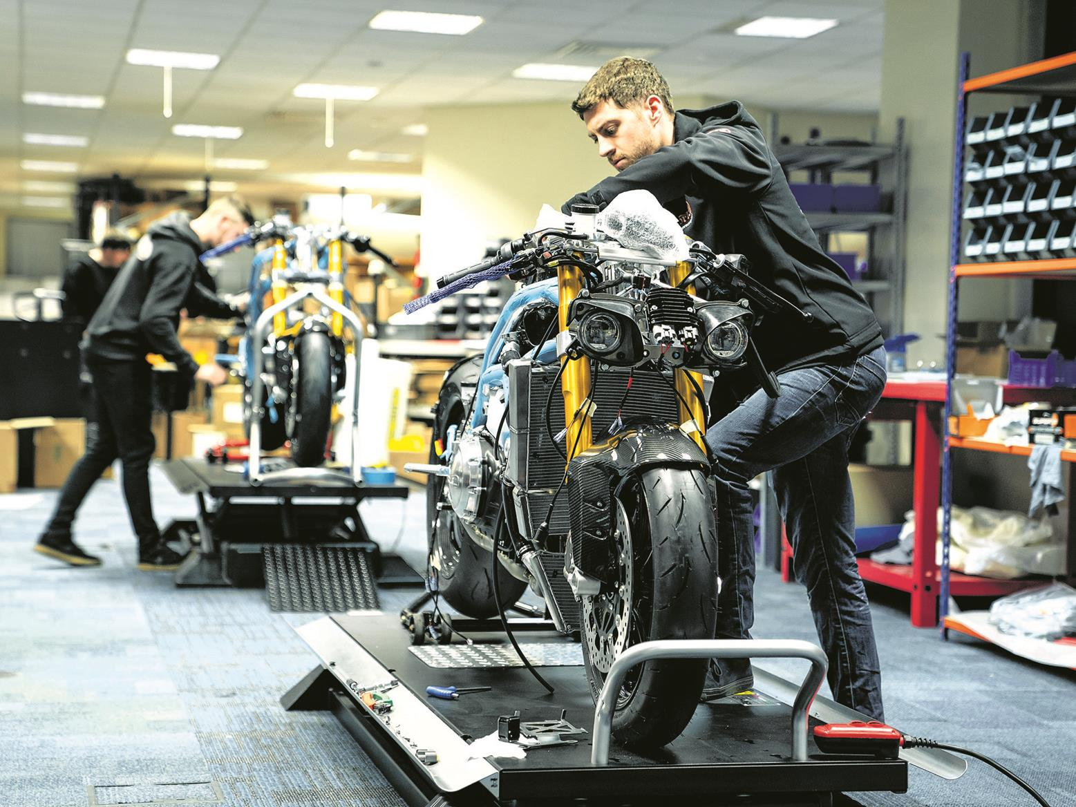 Norton motorcycles on the production line