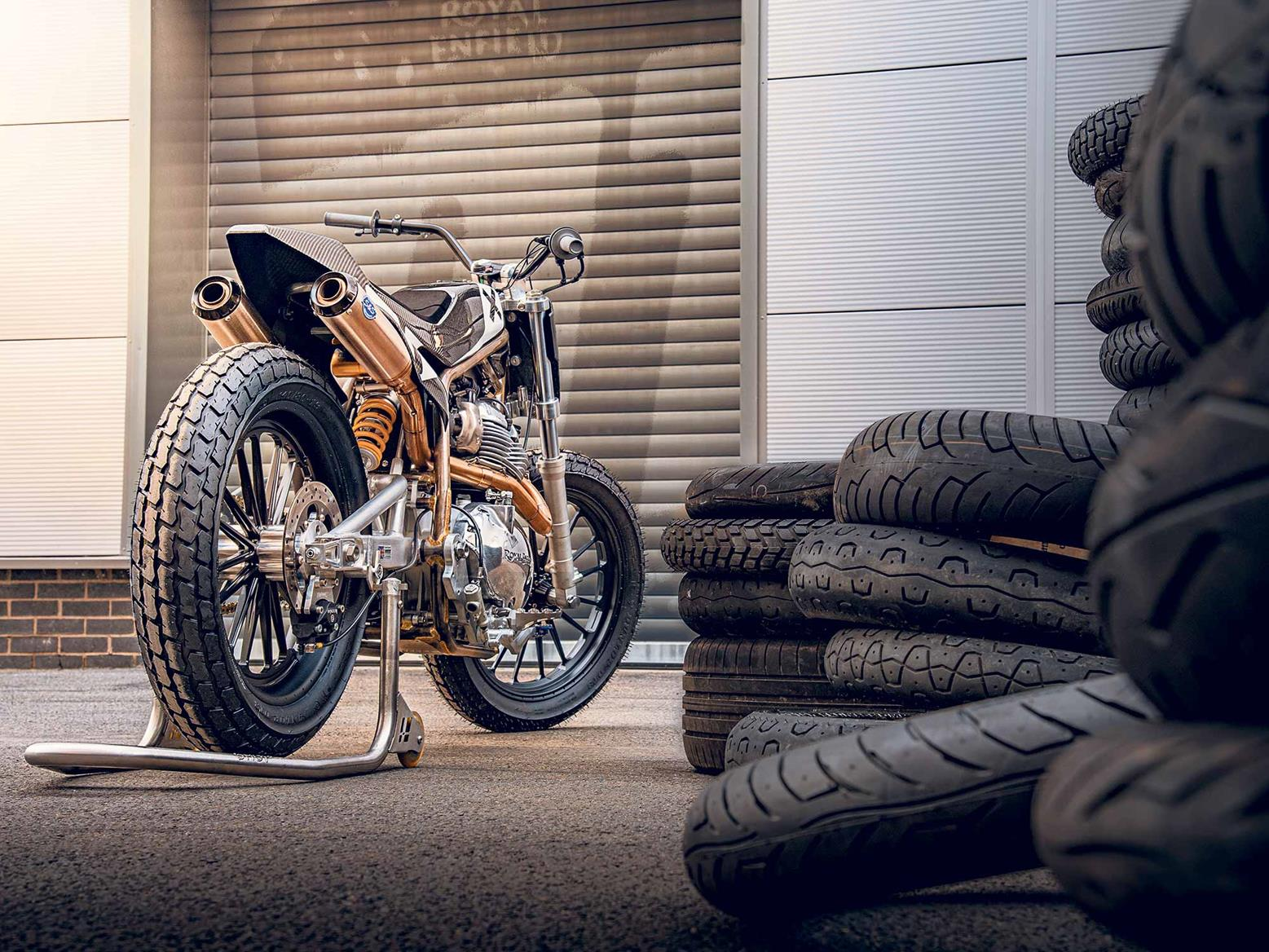 Royal Enfield flattracker parked by tyres
