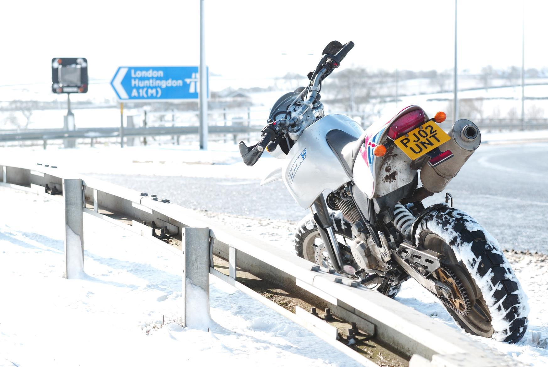 CCM motorbike in the snow