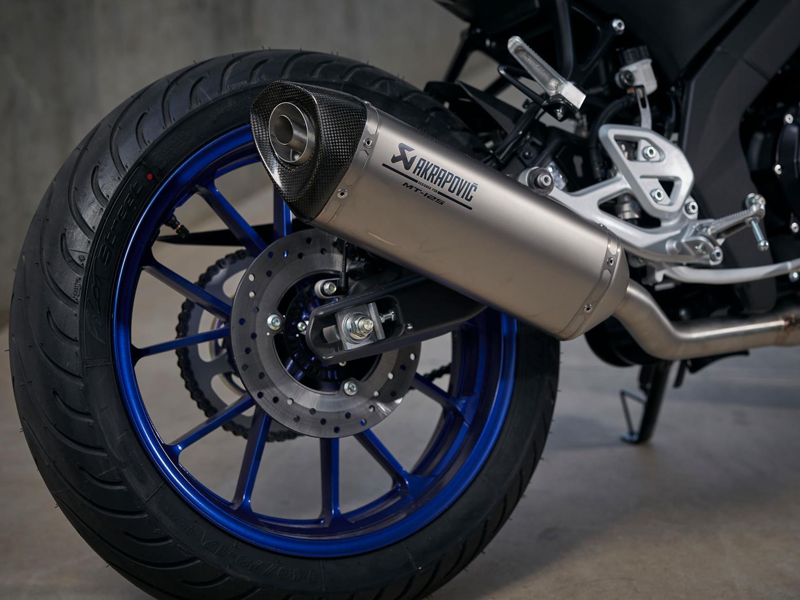 Optional Akrapovic exhaust on 2020 Yamaha MT-125