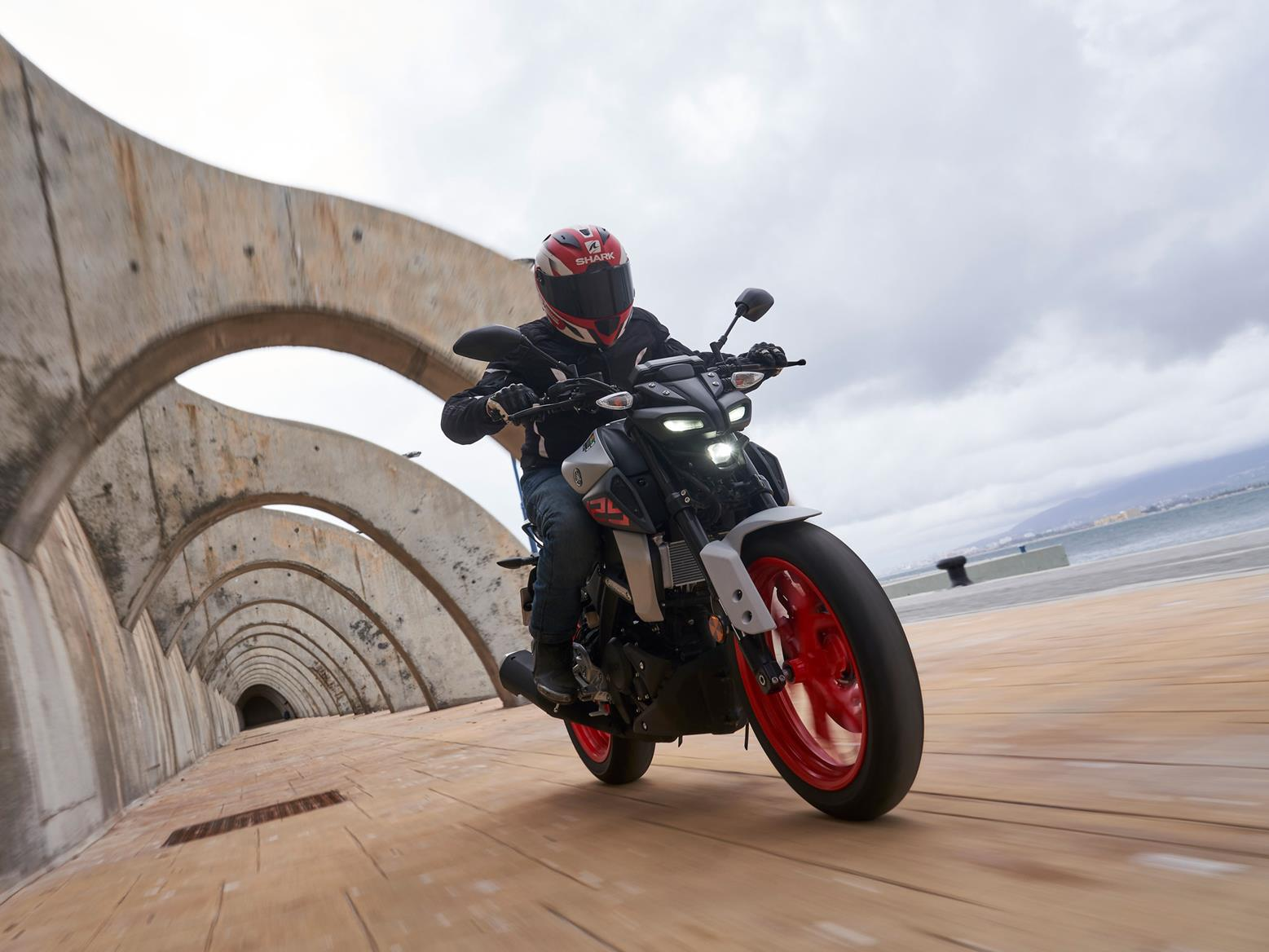 2020 Yamaha MT-125 heading through tunnels on the launch, pilotted by Dan Sutherland