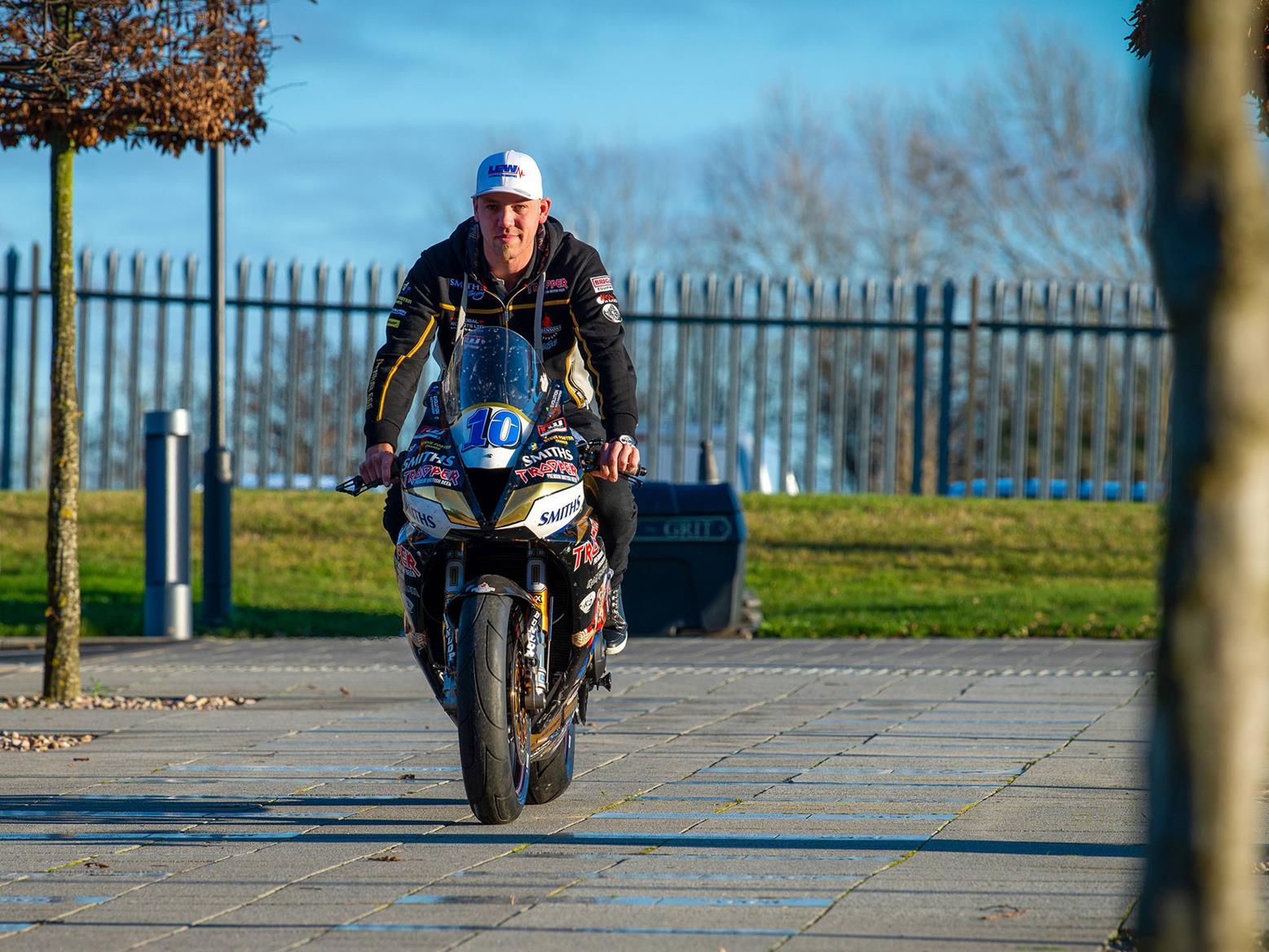 Peter Hickman arrives at Triumph Hinckley