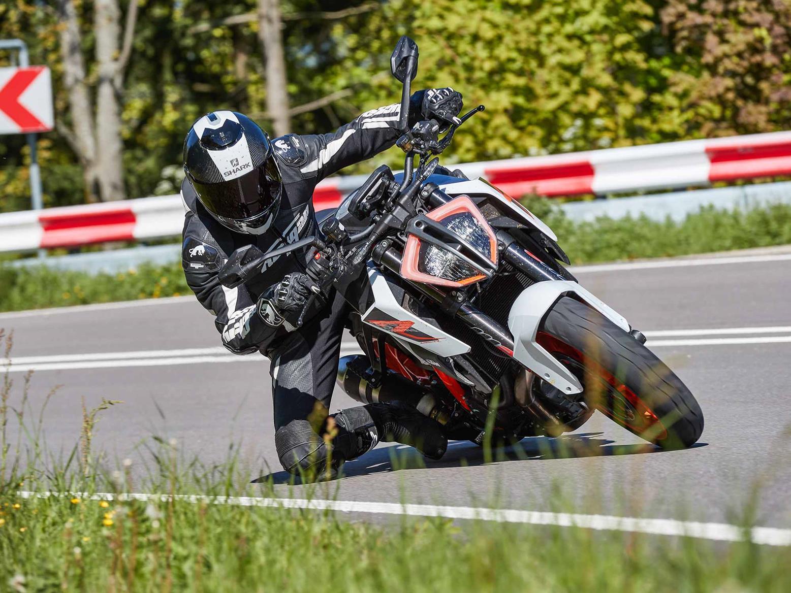 Fast cornering on the KTM 1290 Super Duke R