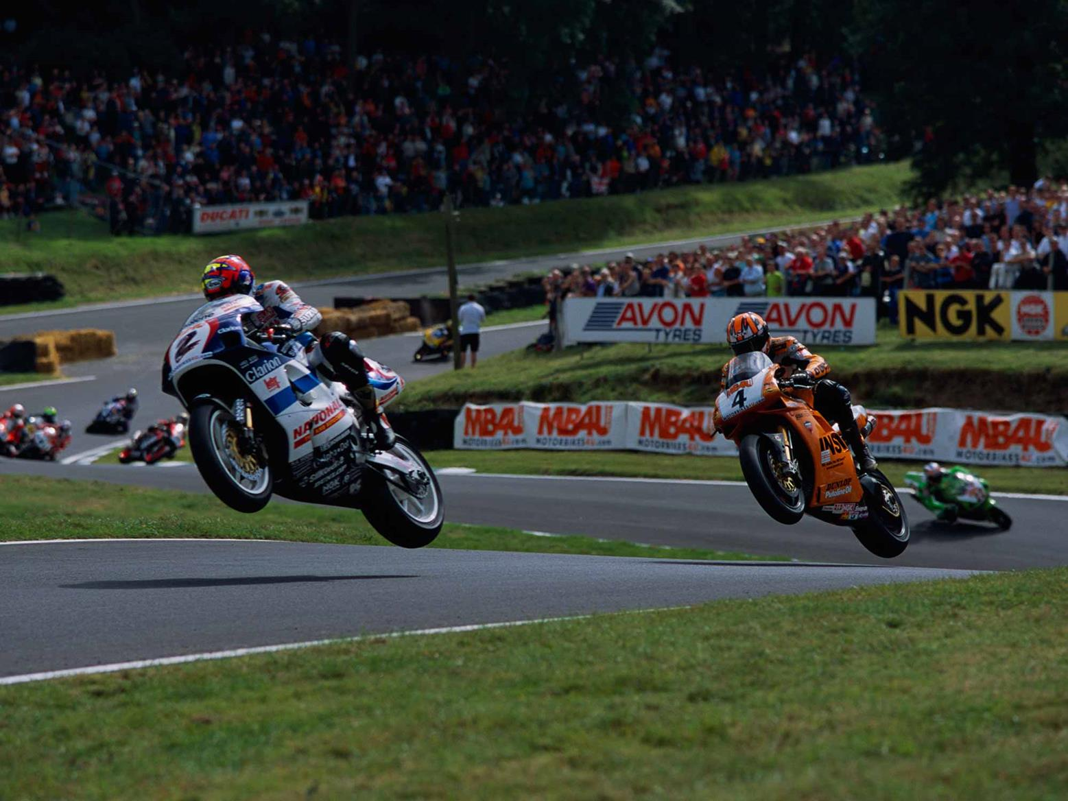 Jumping the Suzuki at Cadwell Park