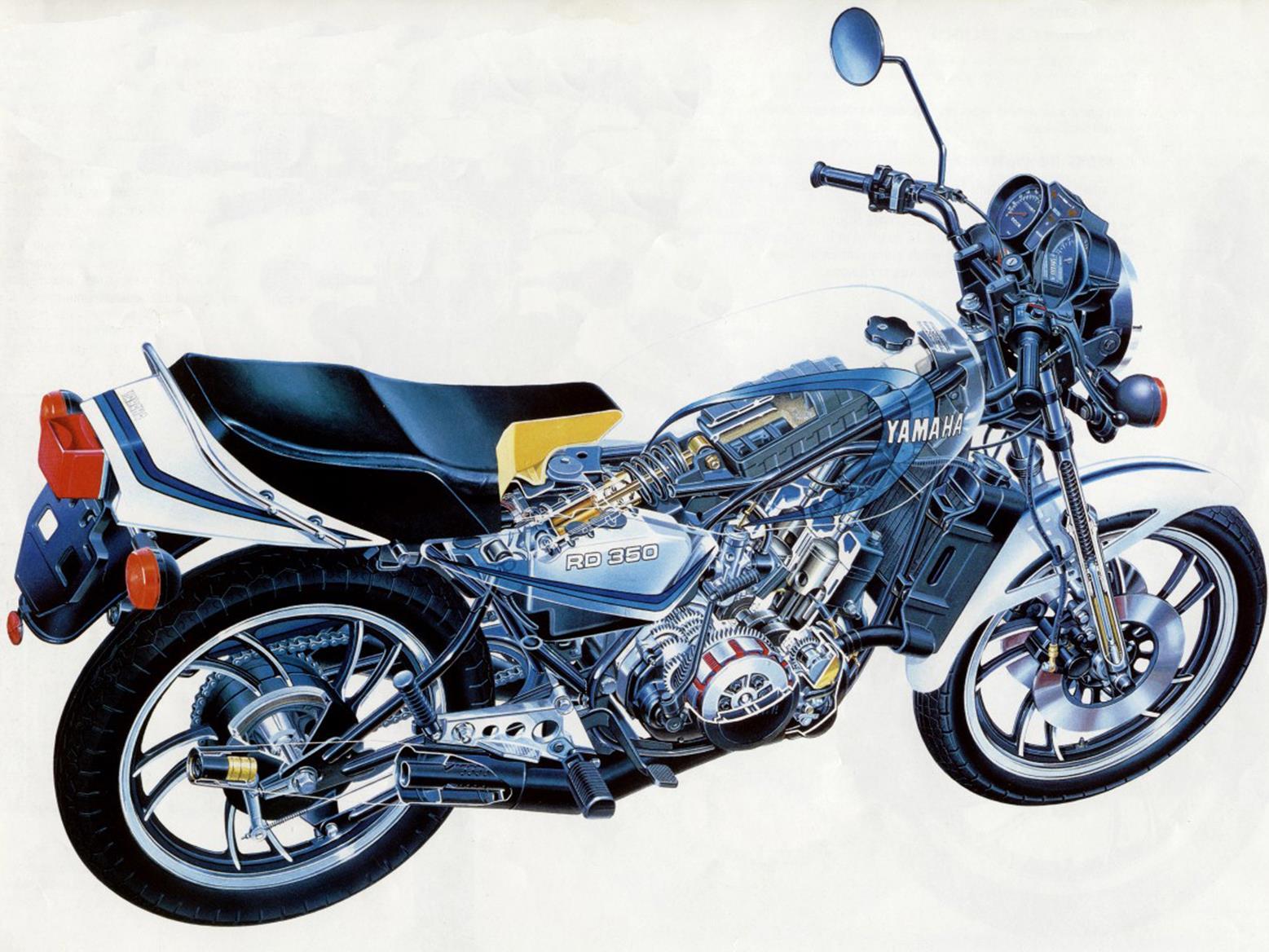Cutaway drawing of the Yamaha RD350LC