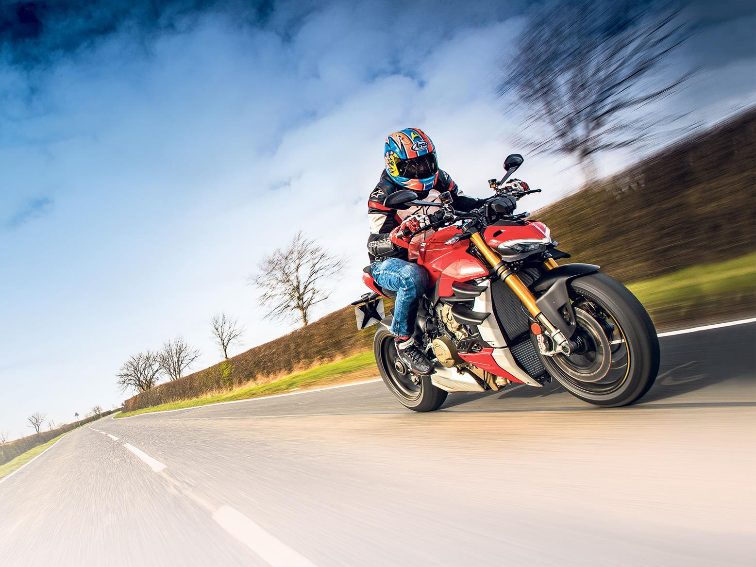 Ducati Streetfighter V4S on the road