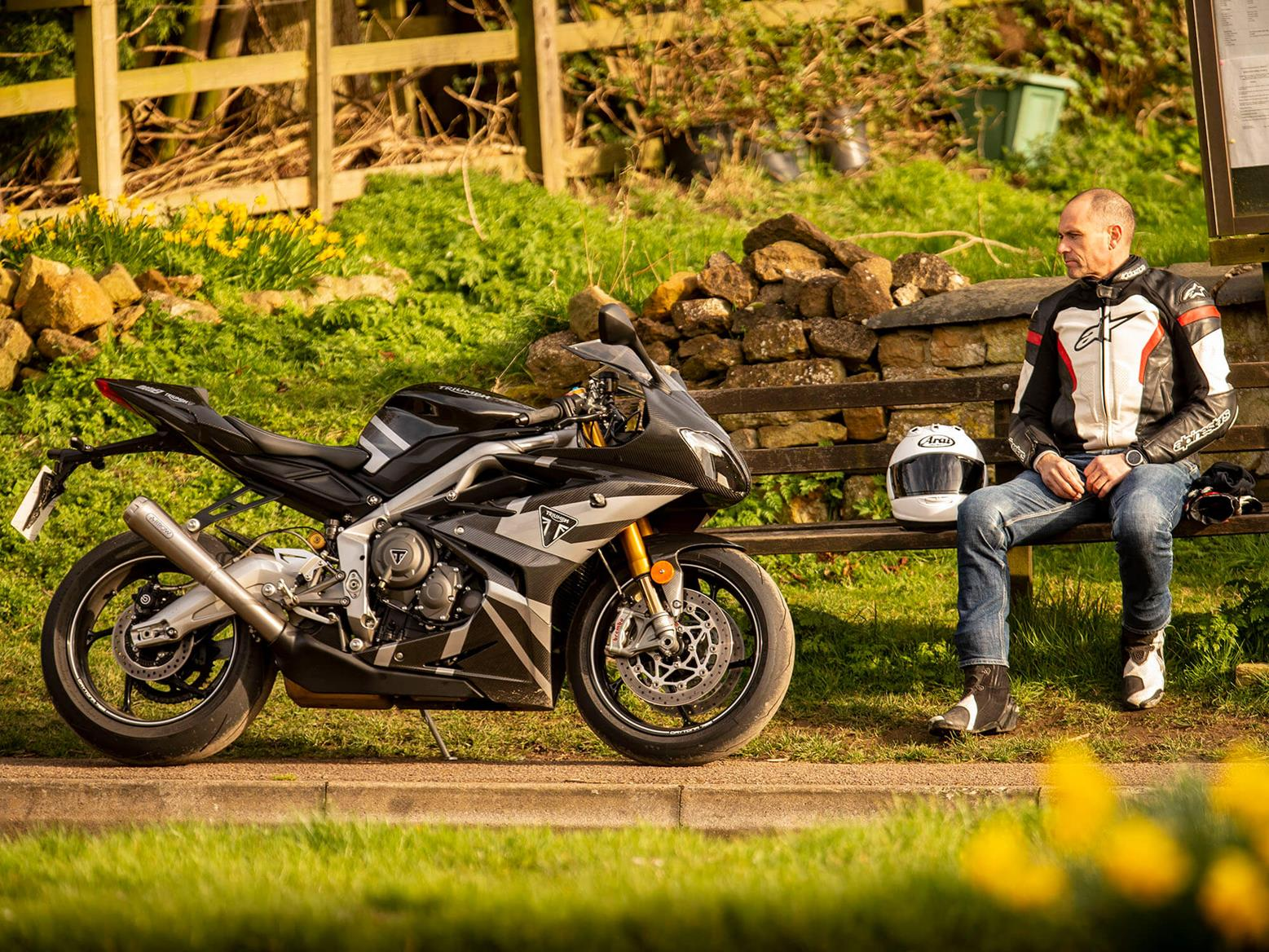 Triumph Daytona Moto2 765 Limited Edition at the roadside