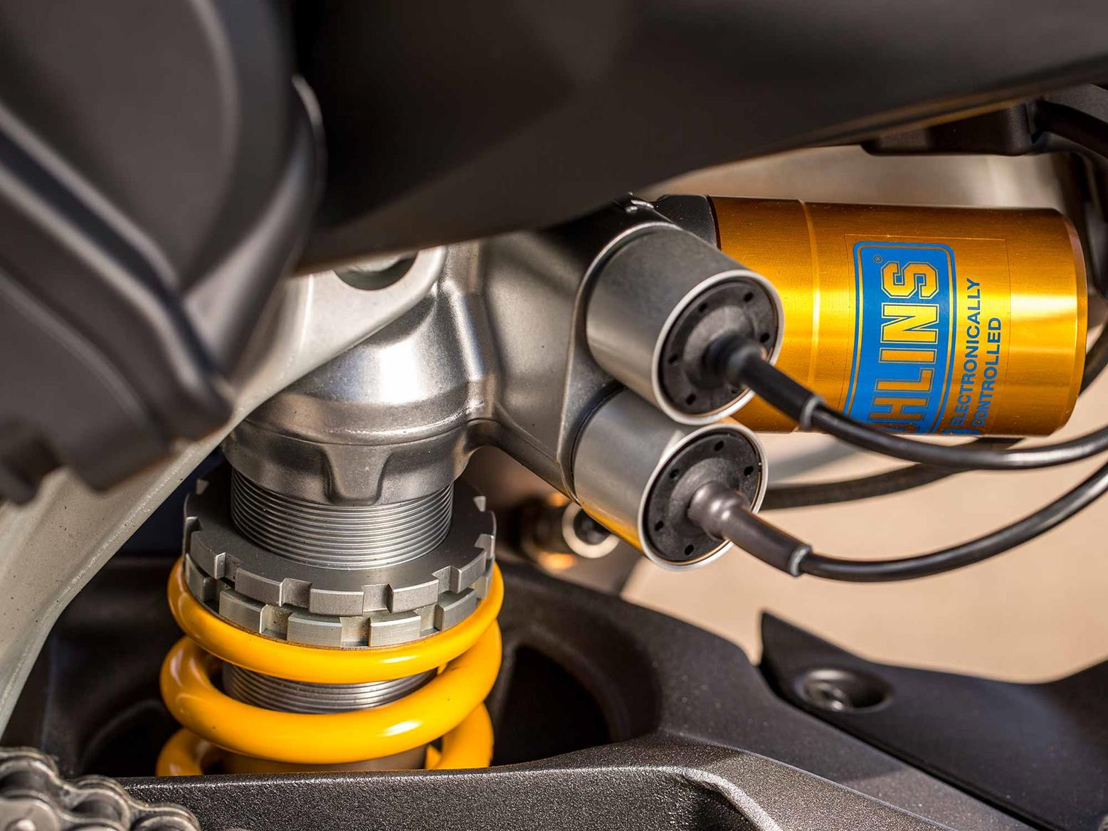 The semi-active Öhlins rear shock on the Ducati Streetfighter V4 S