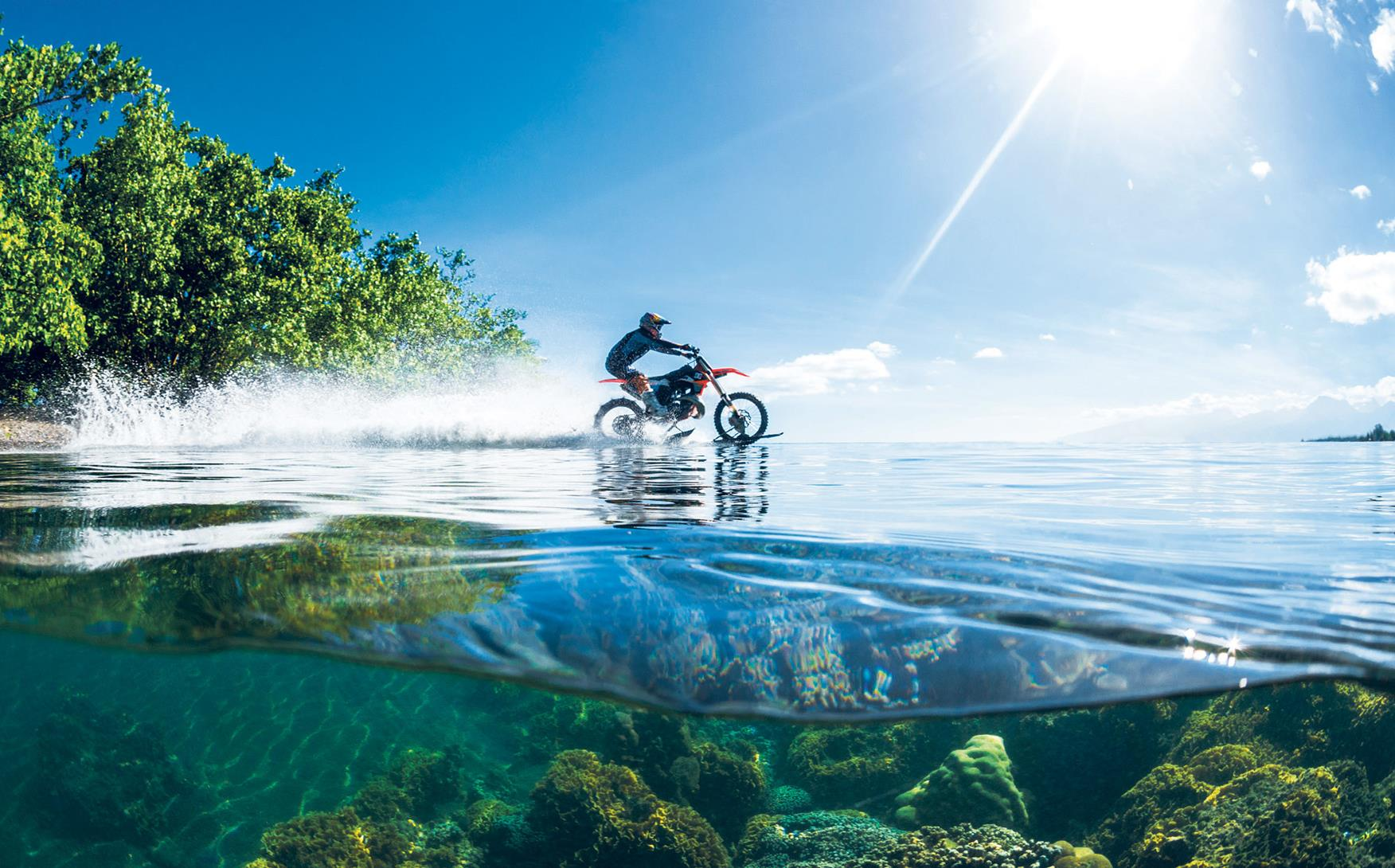 Robbie Maddison rides on water