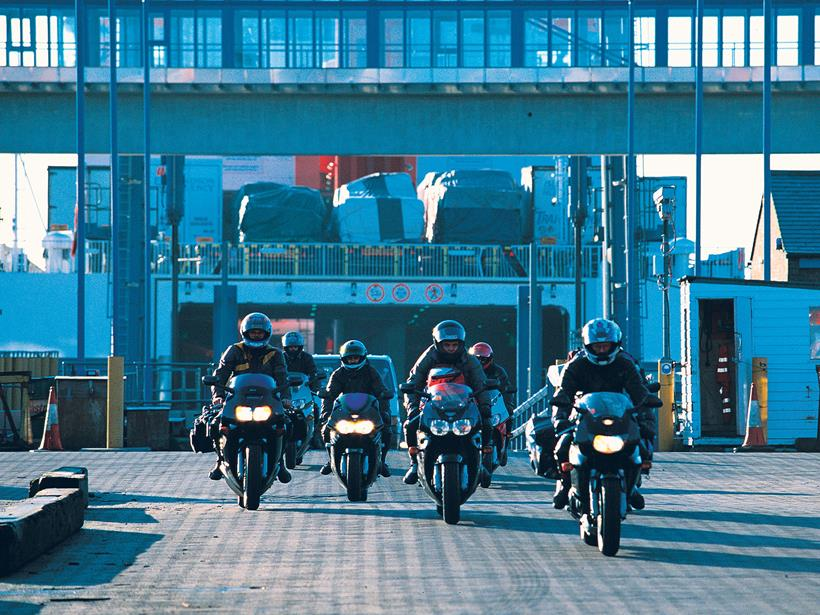 Bikers coming off the Isle of Man Steam Packet Ferry for the TT