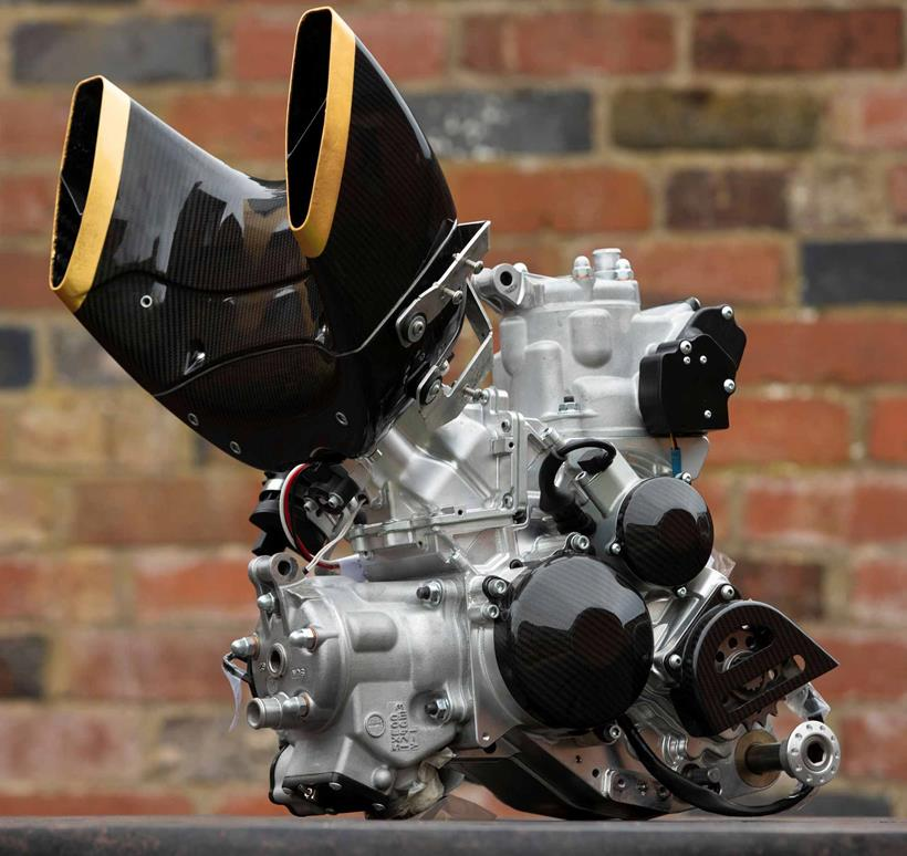 A side view of the Langen 250 two-stroke engine
