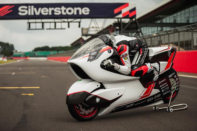 Robert White on his WMC250EV at Silverstone