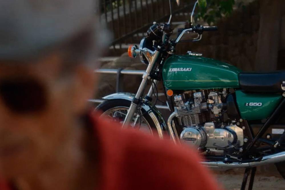 Kawasaki Z650 in background of video