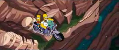 Simpsons Movie Homer Jumps Springfield Gorge On A Bike Mcn