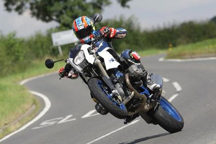 BMW HP2 Megamoto review action