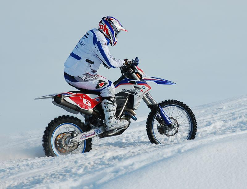 Bmw G450x Takes On Snowmobile