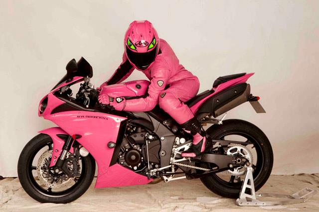 A pink Cat on an R1 at...
