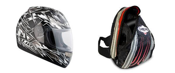 Stryke helmet and Caberg bag