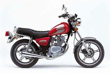Suzuki GN125 motorcycle rview - Side view